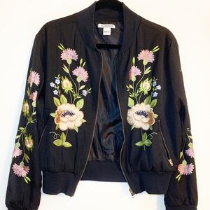 Glamorous Black Embroidered Bomber Jacket